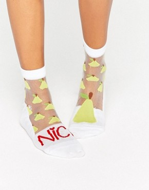 ASOS Sheer 'Nice Pear' Odd Ankle Socks