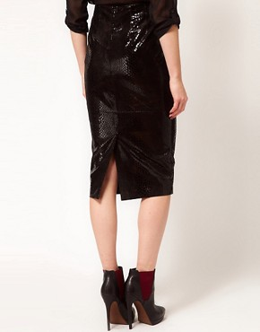Image 2 ofASOS Premium Leather Skirt in Snake Effect