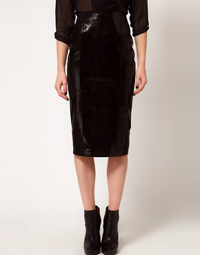 Image 4 ofASOS Premium Leather Skirt in Snake Effect