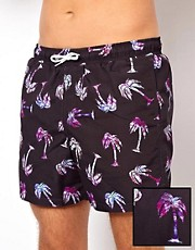 ASOS Swim Shorts With Palm Tree Print