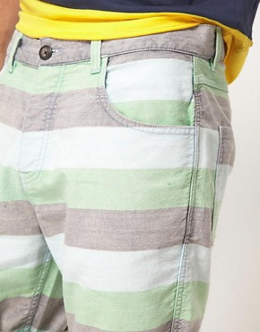 Image 3 ofASOS Stripe Shorts With Oxford Fabric