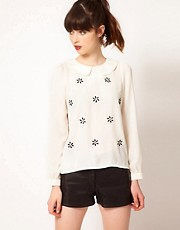 Sister Jane Top with Flower Embellishment