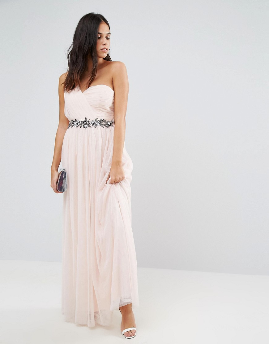 Little Mistress One Shoulder Embellished Maxi Dress - Nude