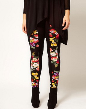 Image 4 ofASOS CURVE Floral Panel Leggings