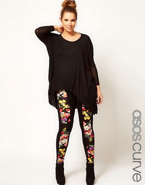 Image 1 of&#160;ASOS CURVE Floral Panel Leggings