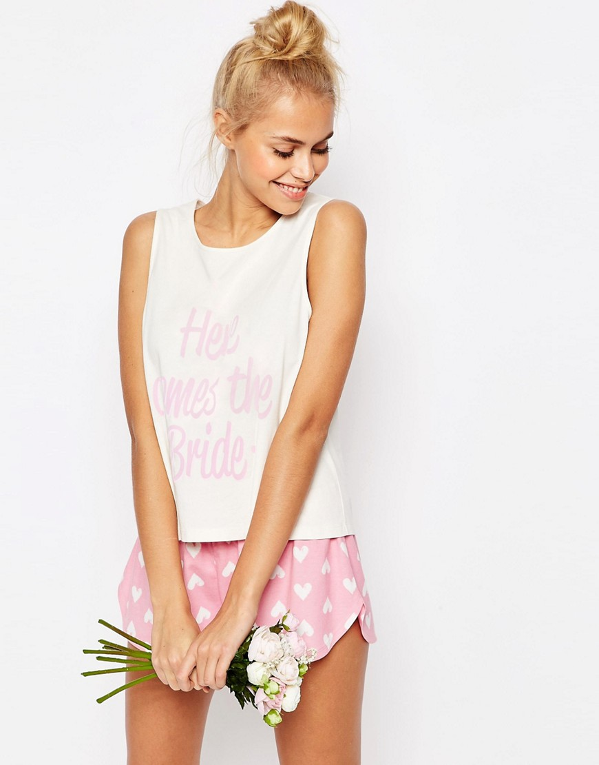 asos-bridal-here-comes-the-bride-vest-short-pyjama-set-multi