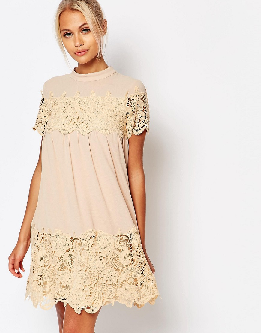 Fashion Union Smock Dress With Lace Inserts - Nude