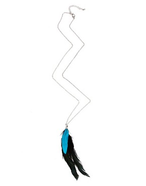 Image 2 ofASOS Fluro Blue Feather Necklace