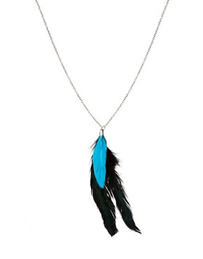 Image 1 ofASOS Fluro Blue Feather Necklace