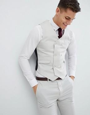ASOS Slim Suit Waistcoat In Ice Grey 100% Wool
