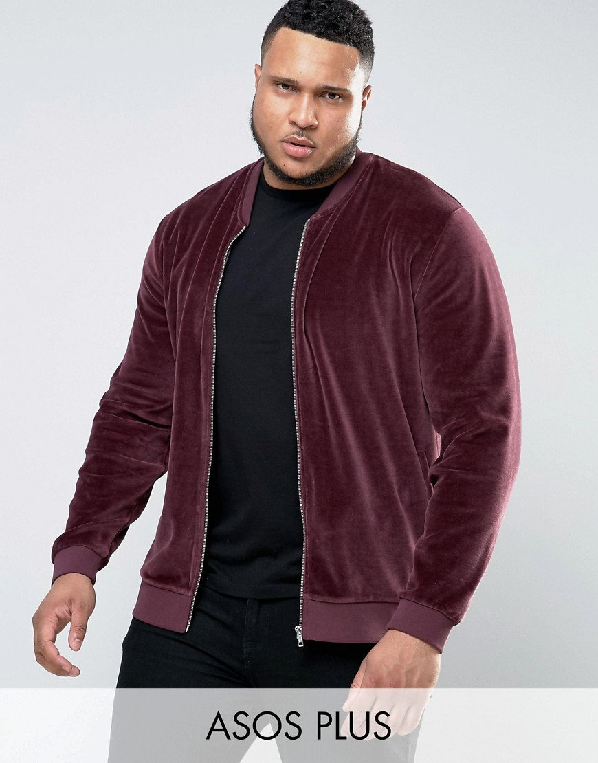 ASOS PLUS Jersey Bomber Jacket In Velour - Red