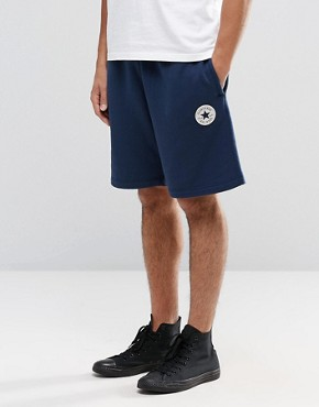 Converse Chuck Patch Jersey Shorts In Blue 10002136-A02