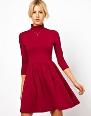ASOS Skater Dress With Polo Neck And 3/4 Sleeves