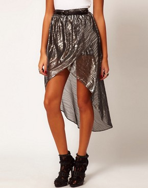 River Island Silver Metallic Wrap Skirt