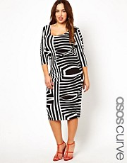 ASOS CURVE Bodycon Dress In Geo Mono Print