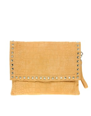 Image 1 ofASOS Suede Croc Stud Clutch