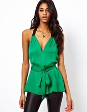 ASOS Top With Tie Waist And Contrast Straps