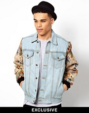 Reclaimed Vintage Denim Jacket with Floral Tapesty Sleeves