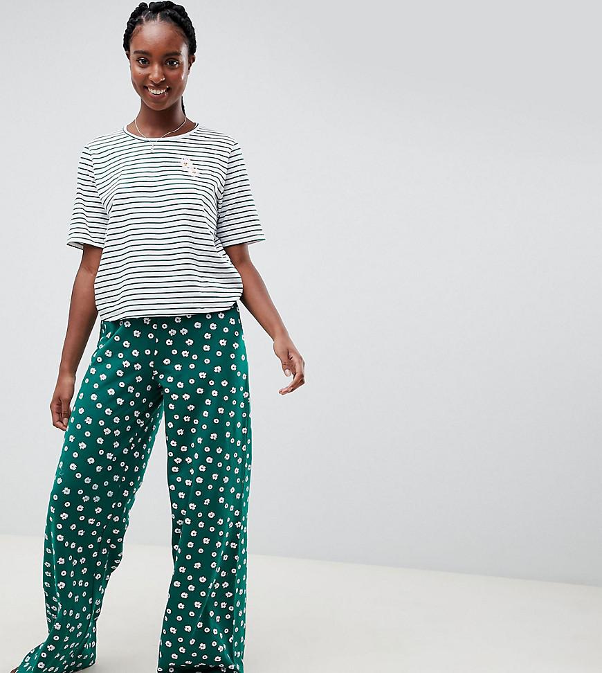 Пижама из футболки в полоску и штанов широкого кроя с цветочным принто ASOS Tall