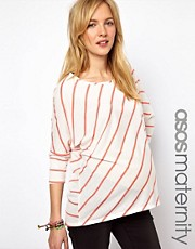 ASOS Maternity Exclusive Top In Skinny Diagonal Stripe