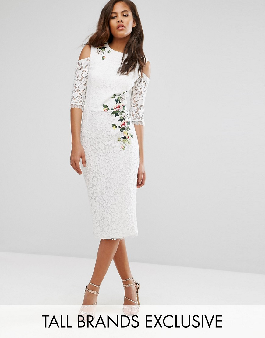 Little Mistress Tall Cold Shoulder Lace Pencil Dress With Floral Embroidery - Ivory