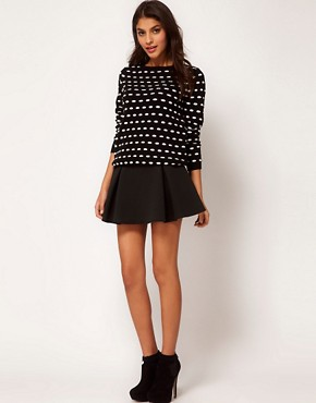 Image 1 ofASOS Structured Skater Skirt with Pleats