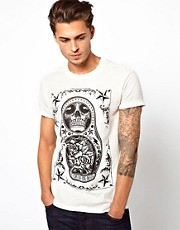 River Island T-Shirt with Russian Print