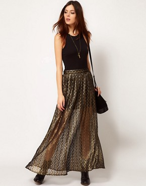 Image 1 ofRiver Island Chelsea Girl Metallic Lace Maxi Skirt