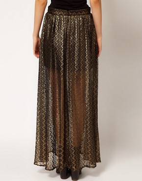 Image 2 ofRiver Island Chelsea Girl Metallic Lace Maxi Skirt