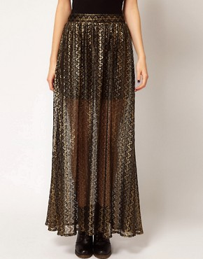 Image 4 ofRiver Island Chelsea Girl Metallic Lace Maxi Skirt