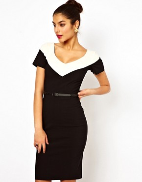 Image 1 ofHybrid Illusion Pencil Dress With V Neck and Belt