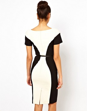 Image 2 ofHybrid Illusion Pencil Dress With V Neck and Belt