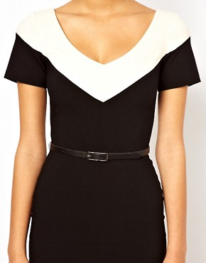 Image 3 ofHybrid Illusion Pencil Dress With V Neck and Belt