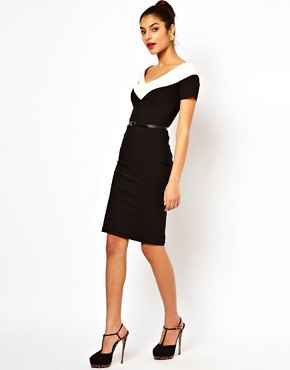 Image 4 ofHybrid Illusion Pencil Dress With V Neck and Belt