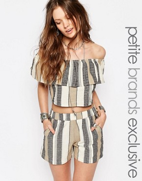 Glamorous Petite Off The Shoulder Stripe Crop Top