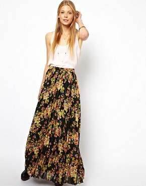 ASOS Printed Pleated Maxi Skirt