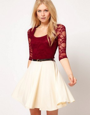 Image 1 ofPaprika Lace Top Chiffon Skater Dress