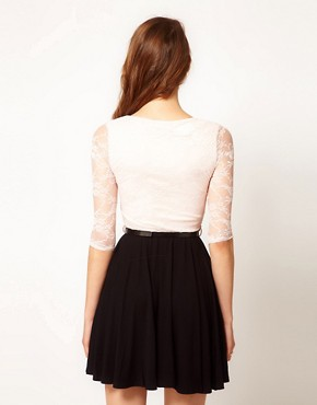 Image 2 ofPaprika Lace Top Chiffon Skater Dress