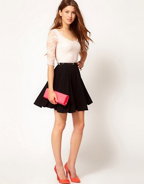 Image 4 ofPaprika Lace Top Chiffon Skater Dress