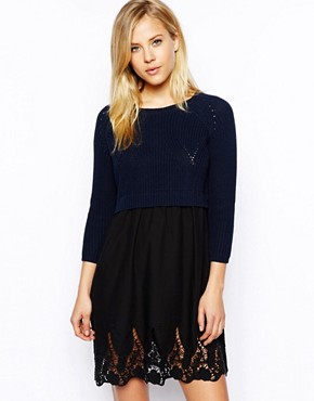 ASOS Jumper Dress With Lace Skirt