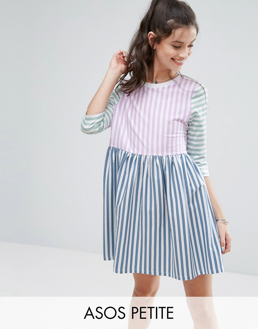 ASOS PETITE Cut About Stripe Smock Dress - Multi