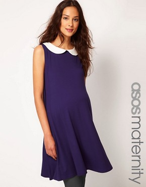 Image 1 ofASOS MATERNITY Swing Dress With Peter Pan Collar