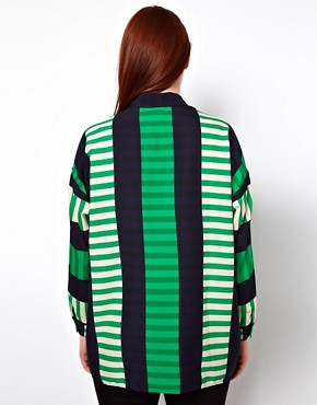 Image 2 ofASOS CURVE Shirt In Cut About Stripe