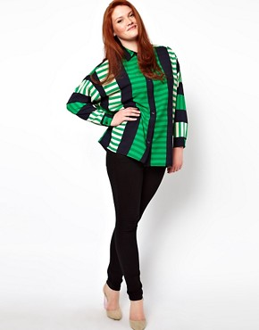 Image 4 ofASOS CURVE Shirt In Cut About Stripe