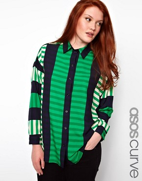 Image 1 ofASOS CURVE Shirt In Cut About Stripe
