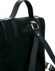 ASOS Canoe Shape Canvas Backpack with Leather Trim