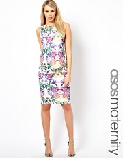 ASOS Maternity Bodycon Dress with Square Back in Floral