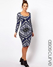 ASOS CURVE Bodycon Dress in Scarf Print