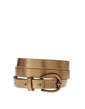 Image 1 ofASOS Leather embossed metallic skinny waist belt