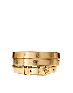 Image 1 of ASOS Metallic Metal Keeper Super Skinny Waist Belt